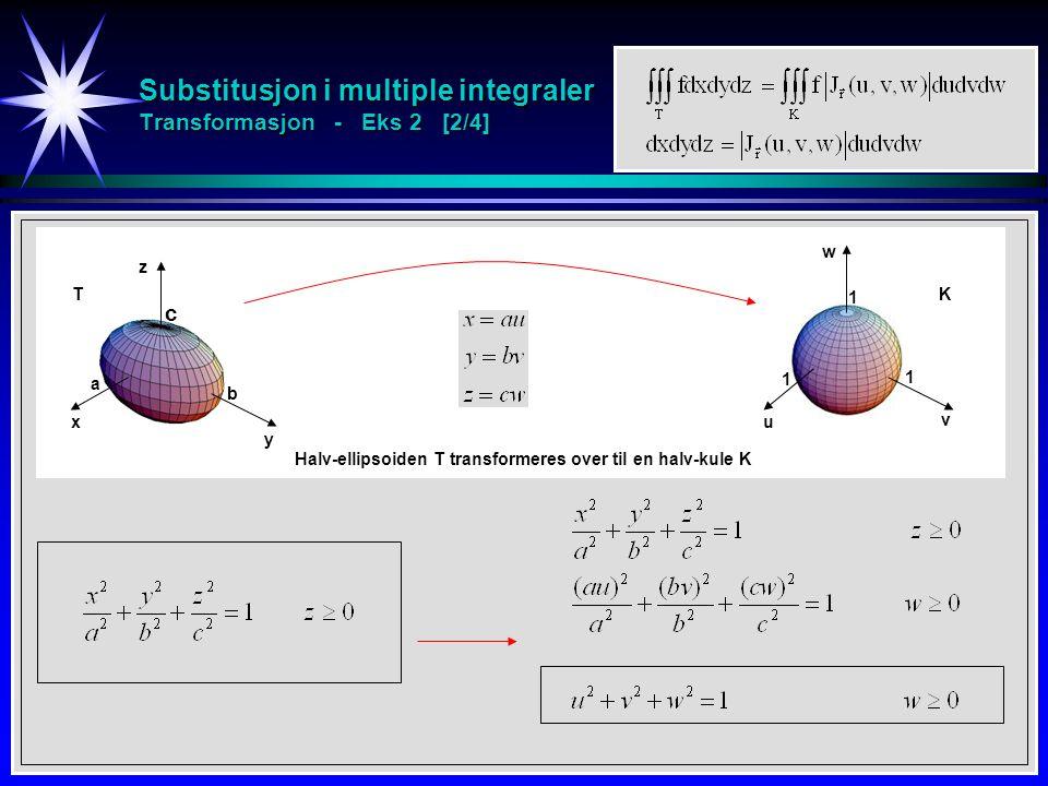 Substitusjon i multiple integraler Transformasjon - Eks 2 [2/4]